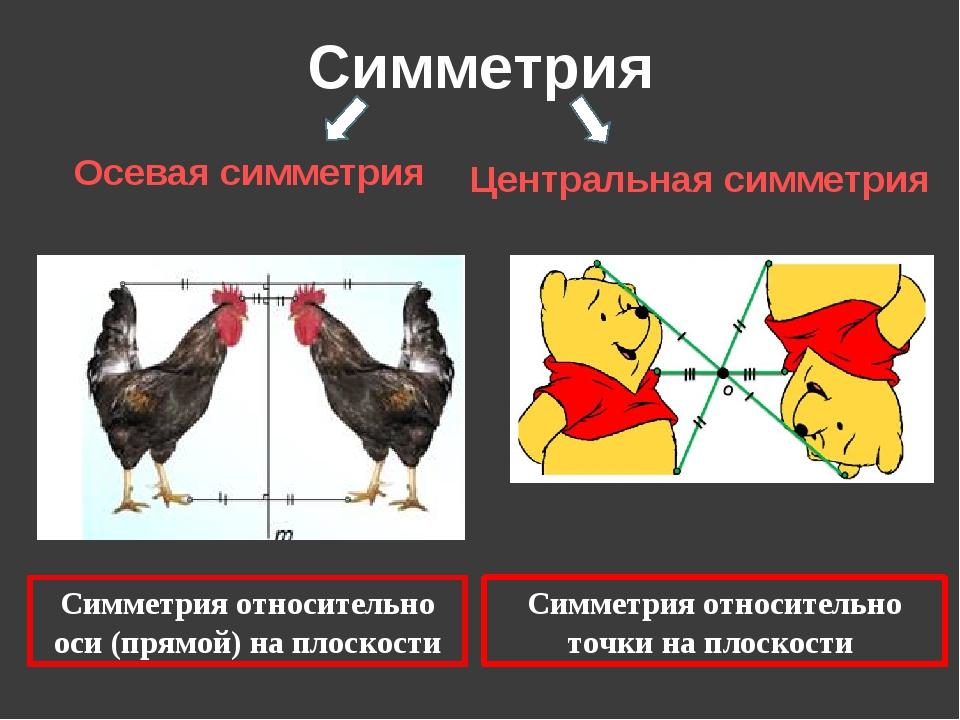Симметрия Осевая симметрия Центральная симметрия Симметрия относительно оси (...