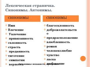 Лексическая страничка. Синонимы. Антонимы. Имя Влечение Увлечение привязаннос