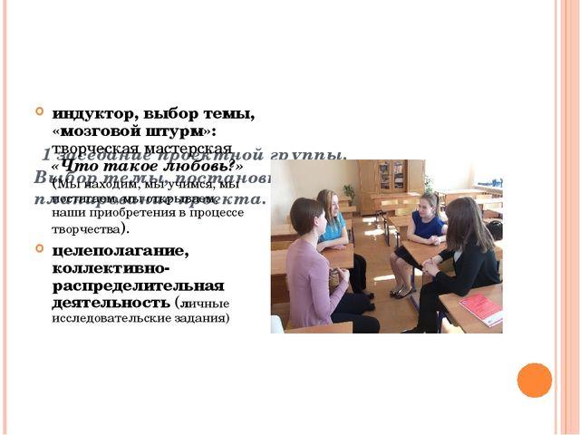 1 заседание проектной группы. Выбор темы, постановка целей и задач, планиров...