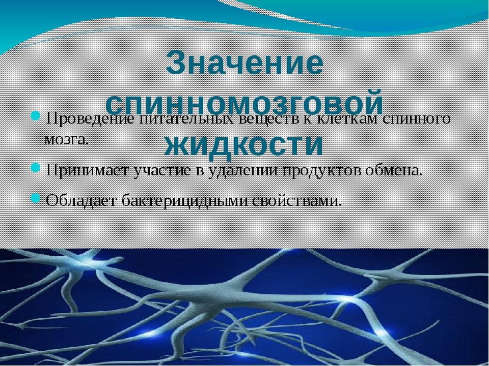 Значение спинномозговой жидкости Проведение питательных веществ к клеткам спи...
