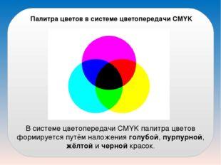 Палитра цветов в системе цветопередачи CMYK В системе цветопередачи CMYK пали