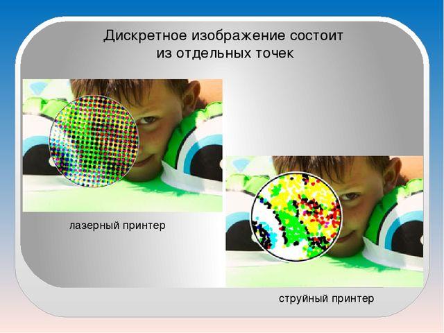 Дискретное изображение состоит из отдельных точек лазерный принтер струйный п...