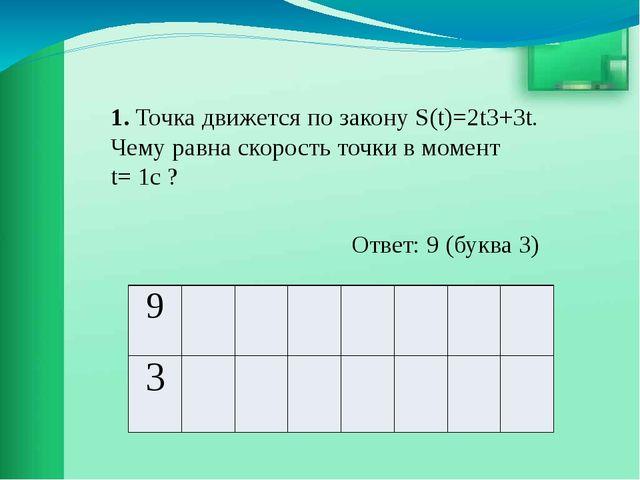 1. Точка движется по закону S(t)=2t3+3t. Чему равна скорость точки в момент t...
