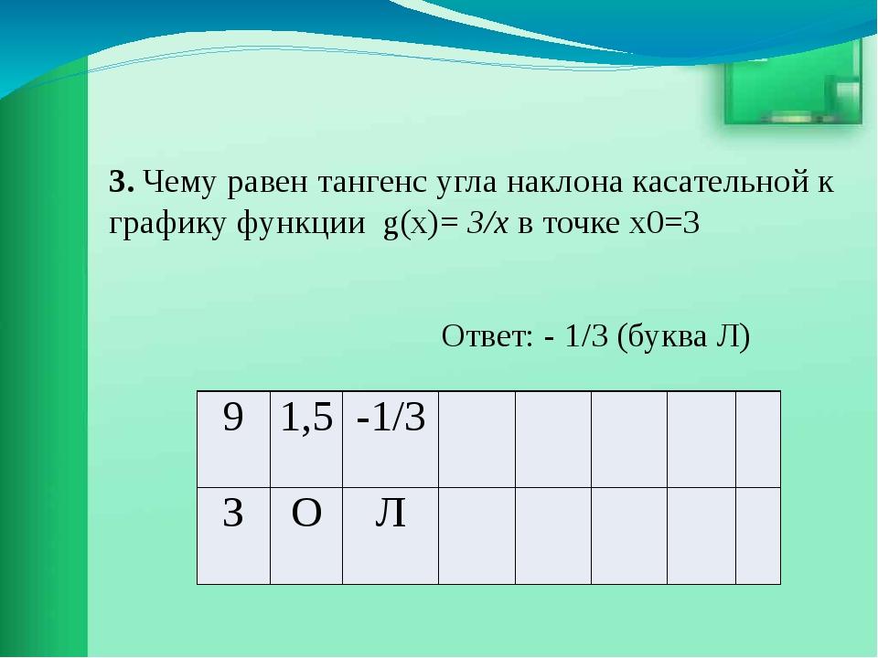 3. Чему равен тангенс угла наклона касательной к графику функции g(x)= 3/х в...