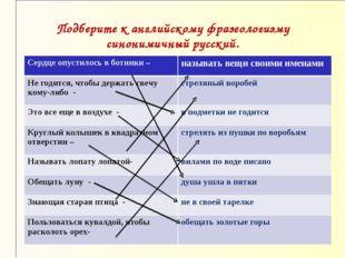 Подберите к английскому фразеологизму синонимичный русский. Сердце опустилось