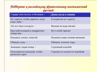 Подберите к английскому фразеологизму синонимичный русский.  Сердце опустило