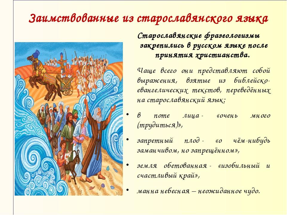 Заимствованные из старославянского языка Старославянские фразеологизмы закреп...