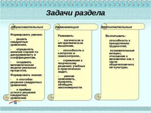 Задачи раздела Образовательные Развивающие Воспитательные Формировать умения