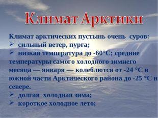 Климат арктических пустынь очень суров: сильный ветер, пурга; низкая температ