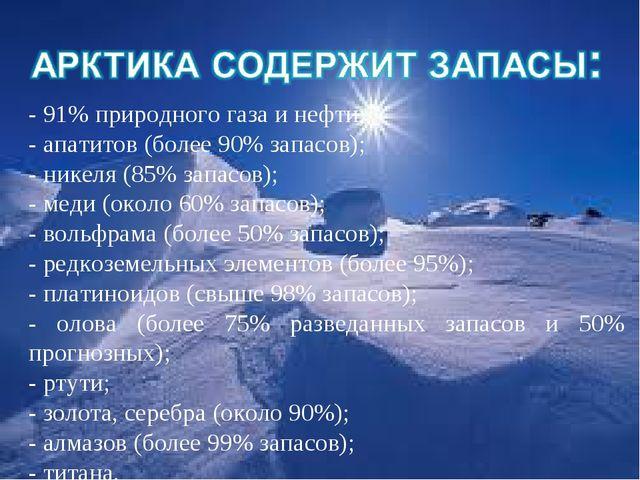 - 91% природного газа и нефти; - апатитов (более 90% запасов); - никеля (8...