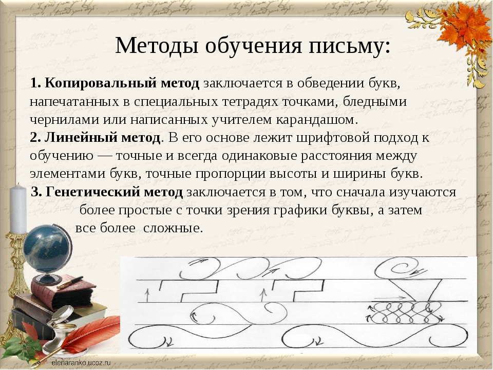 Методы обучения письму: 1. Копировальный метод заключается в обведении букв,...