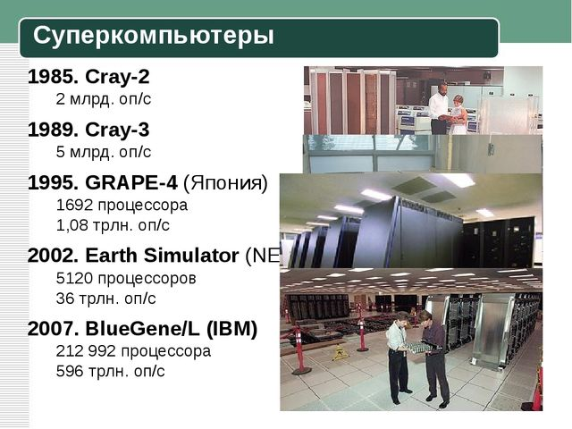 1985. Cray-2 2 млрд. оп/c 1989. Cray-3 5 млрд. оп/c 1995. GRAPE-4 (Япония) 16...
