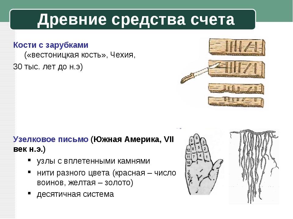 Древние средства счета Кости с зарубками («вестоницкая кость», Чехия, 30 тыс....