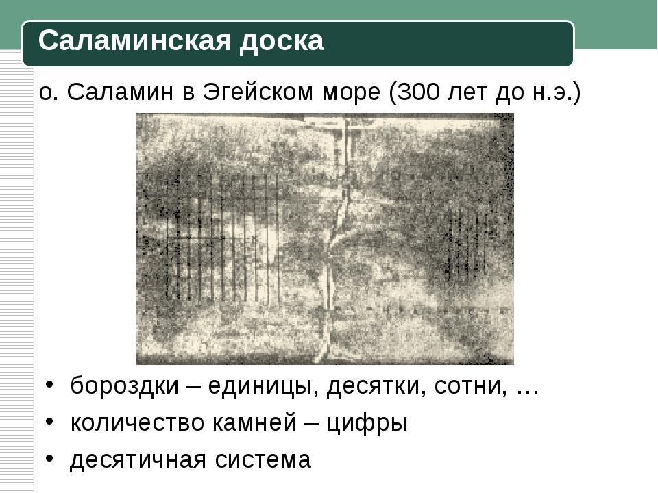 о. Саламин в Эгейском море (300 лет до н.э.) бороздки – единицы, десятки, сот...