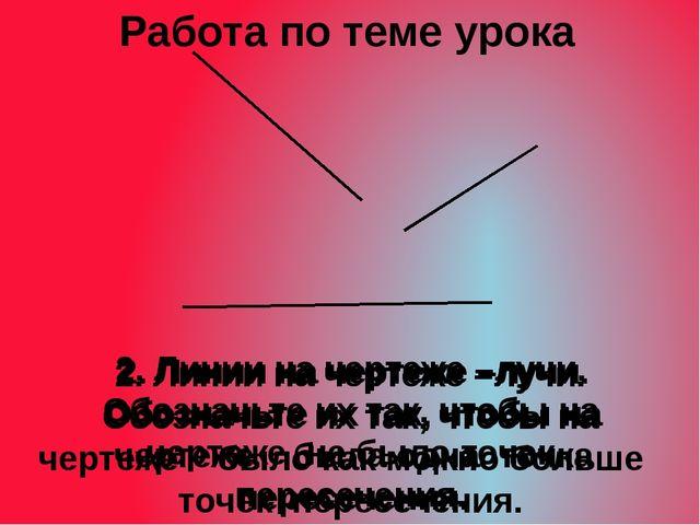 2. Линии на чертеже –лучи. Обозначьте их так, чтобы на чертеже не было точек...