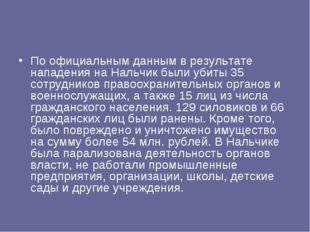 По официальным данным в результате нападения на Нальчик были убиты 35 сотрудн