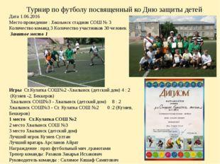 Турнир по футболу посвященный ко Дню защиты детей Дата 1.06.2016 Место прове