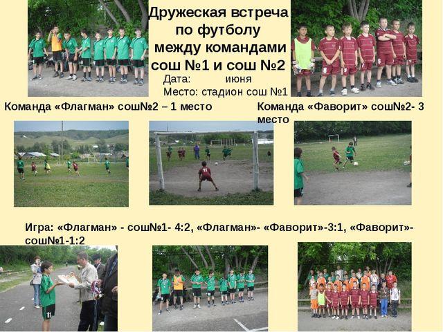Дружеская встреча по футболу между командами сош №1 и сош №2 Команда «Флагман...