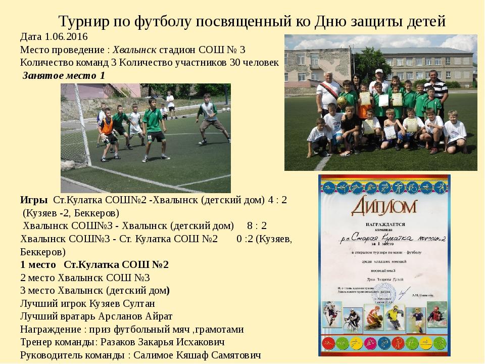 Турнир по футболу посвященный ко Дню защиты детей Дата 1.06.2016 Место прове...