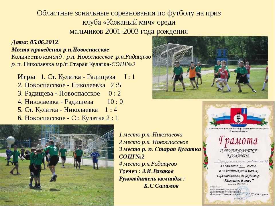 Областные зональные соревнования по футболу на приз клуба «Кожаный мяч» среди...