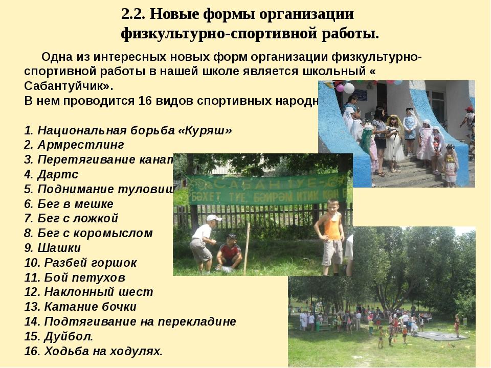 2.2. Новые формы организации физкультурно-спортивной работы. Одна из интересн...