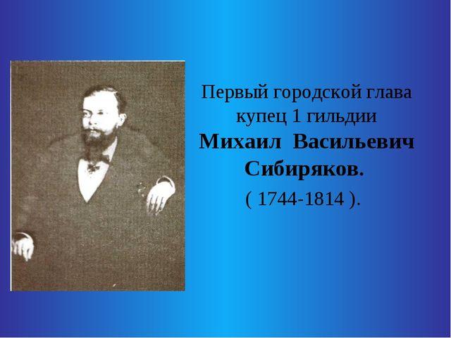 Первый городской глава купец 1 гильдии Михаил Васильевич Сибиряков. ( 1744-1...