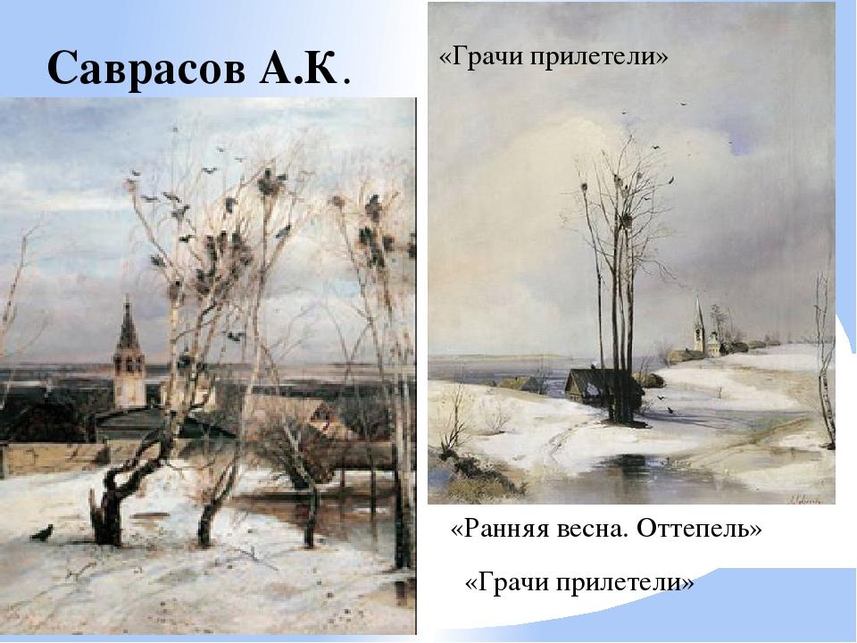 Саврасов А.К. «Ранняя весна. Оттепель» «Грачи прилетели» «Грачи прилетели»