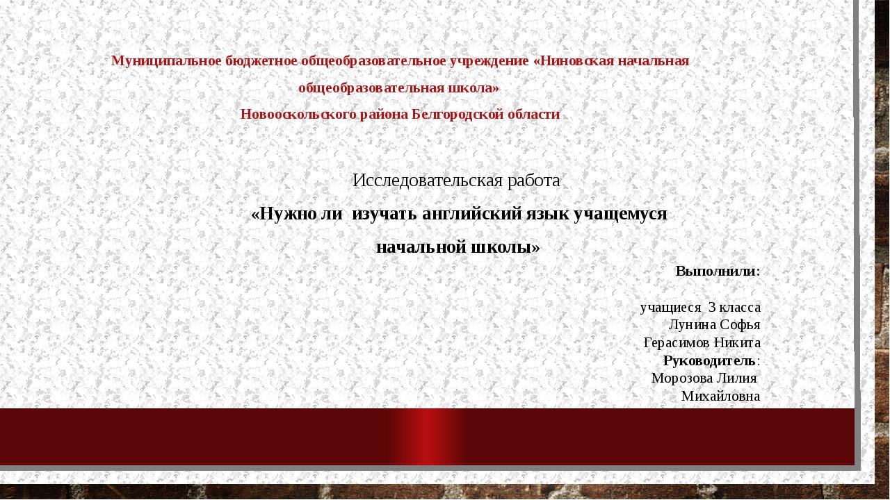 Муниципальное бюджетное общеобразовательное учреждение «Ниновская начальная о...