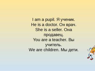 I am a pupil. Я ученик. He is a doctor. Он врач. She is a seller. Она продаве