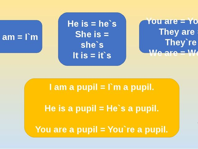 I am = I`m He is = he`s She is = she`s It is = it`s You are = You`re They are...