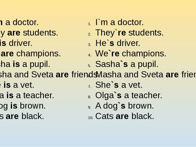 I am a doctor. They are students. He is driver. We are champions. Sasha is a...