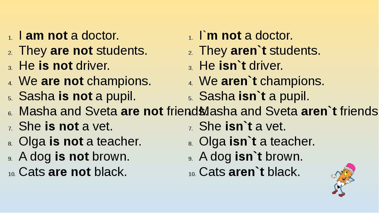I am not a doctor. They are not students. He is not driver. We are not champi...