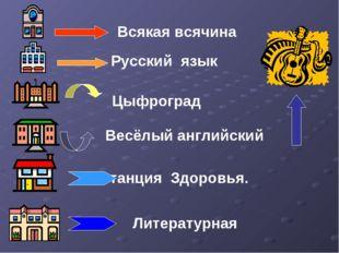Всякая всячина Русский язык Цыфроград Весёлый английский Станция Здоровья. Л