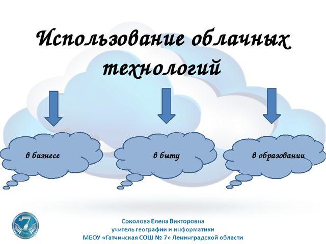 Использование облачных технологий в бизнесе в быту в образовании