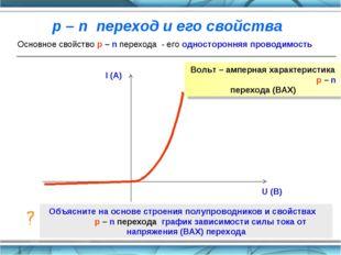 Основное свойство p – n перехода - его односторонняя проводимость Вольт – амп