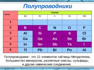 Полупроводники - это 12 элементов таблицы Менделеева, большинство минералов,