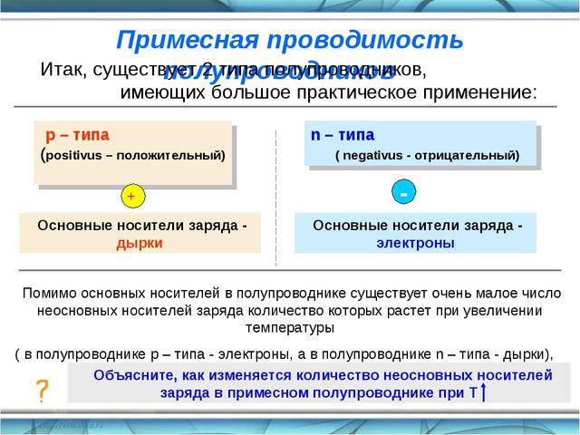 Примесная проводимость полупроводников Итак, существует 2 типа полупроводнико...