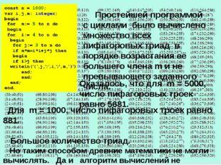Простейшей программой с циклами было вычислено множество всех пифагоровых тр