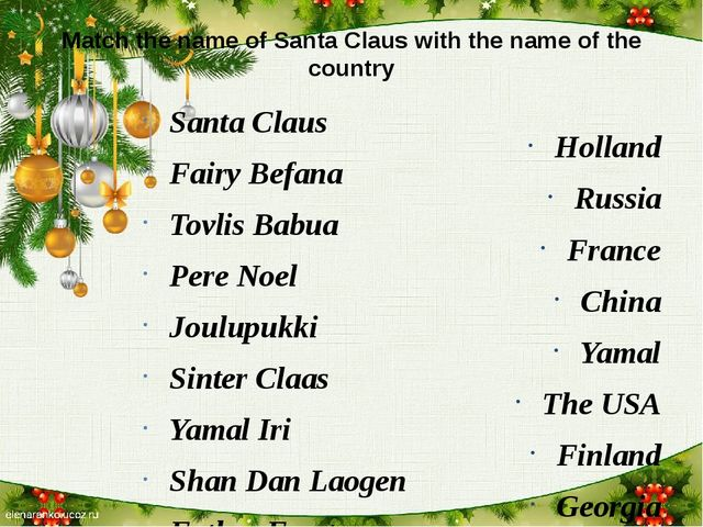 Match the name of Santa Claus with the name of the country Santa Claus Fairy...