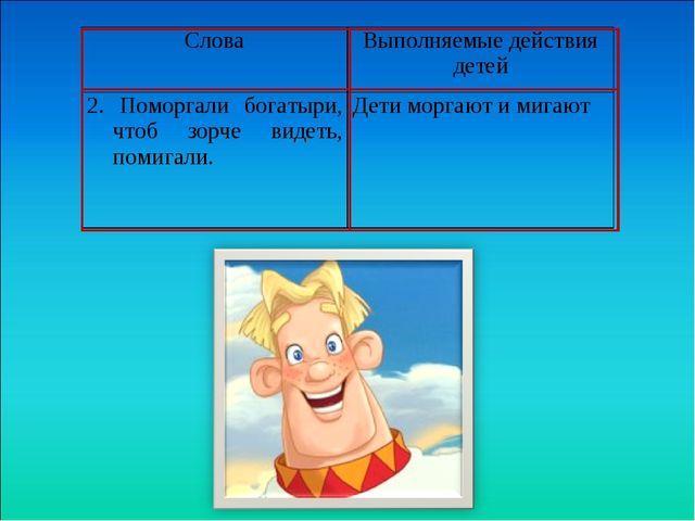 СловаВыполняемые действия детей 2. Поморгали богатыри, чтоб зорче видеть,...