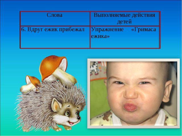 СловаВыполняемые действия детей 6. Вдруг ежик прибежалУпражнение «Гримаса...
