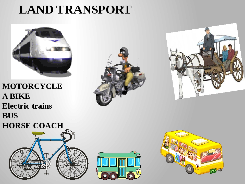 LAND TRANSPORT MOTORCYCLE A BIKE Electric trains BUS HORSE COACH