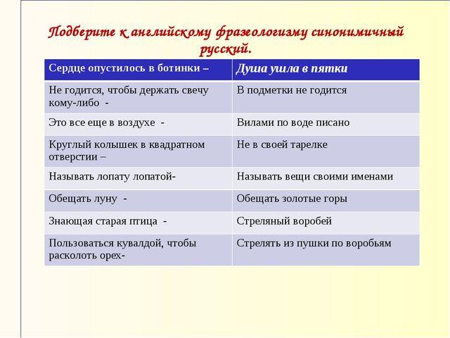 Подберите к английскому фразеологизму синонимичный русский.  Сердце опустило...