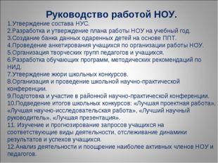 Руководство работой НОУ. Утверждение состава НУС. Разработка и утверждение пл