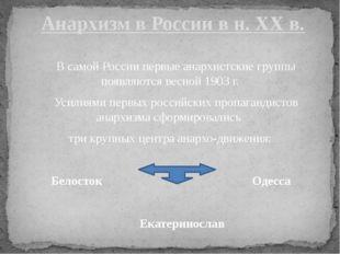 В самой России первые анархистские группы появляются весной 1903 г. Усилиями