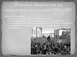 Реакция анархистов на поражение революции 1905-1907 гг. Возникли 2 тенденции: