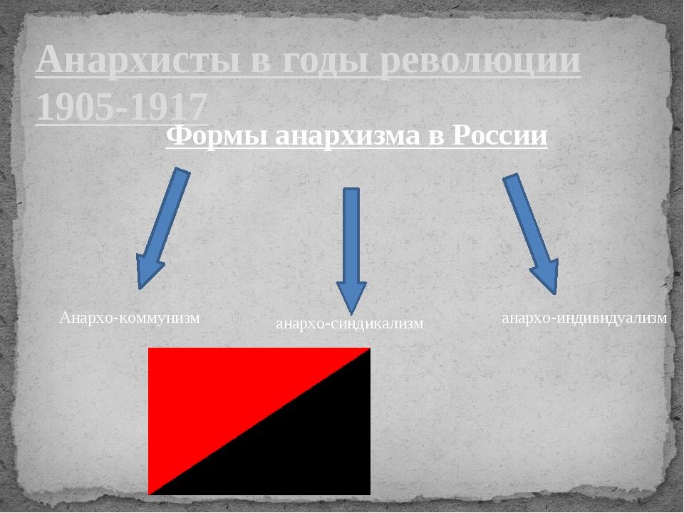 Анархисты в годы революции 1905-1917 Формы анархизма в России Анархо-коммуниз...
