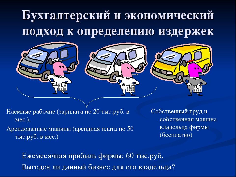 Бухгалтерский и экономический подход к определению издержек Наемные рабочие (...