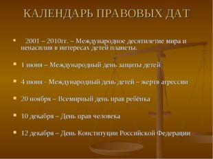 КАЛЕНДАРЬ ПРАВОВЫХ ДАТ 2001 – 2010гг. – Международное десятилетие мира и нена