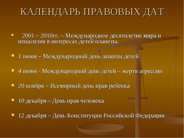 КАЛЕНДАРЬ ПРАВОВЫХ ДАТ 2001 – 2010гг. – Международное десятилетие мира и нена...